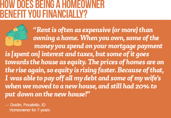 How does being a homeowner benefit you financially?
