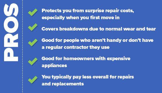 Pros: Protects you from surprise repair costs, especially when you first move in, Covers breakdowns due to normal wear and tear, Good for people who aren't handy or don't have a regular contractor they use, Good for homeowners with expensive appliances, and You typically pay less overall for repairs and replacements.